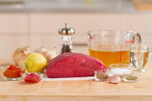 Ingredients for beef goulash