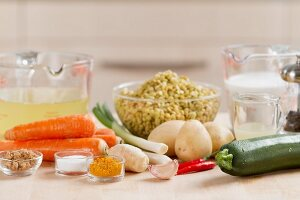Ingredients for lentil stew