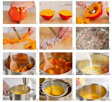 Steps for making cream of pumpkin soup
