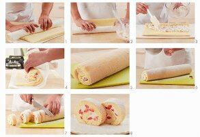 Preparing strawberry and cream sponge roulade