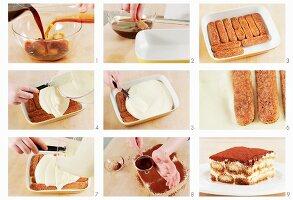 Tiramisu zubereiten: Löffelbiskuits und Mascarponecreme einschichten