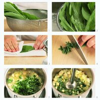 Ramson soup being prepared
