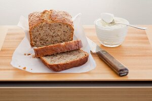 Sliced, freshly baked banana bread
