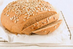 Sliced, freshly baked sunflower seed bread