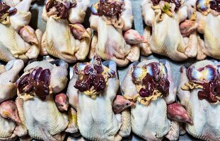 Fresh chickens displayed to show the livers, Nan, Thailand