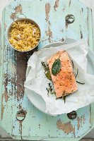 Salmon fillet with rosemary, bay leaves and a side of rice