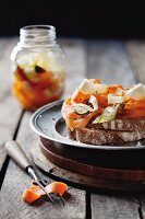 Bread topped with pickled root vegetables