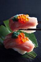 Nigiri sushi with tuna and salmon caviar