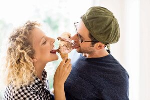 Couple eating ice cream together