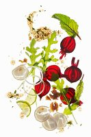 Ingredients for carpaccio with beetroot, radishes, rocket and walnuts