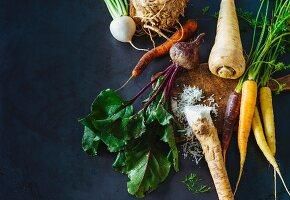 An arrangement of root vegetables (paleo)