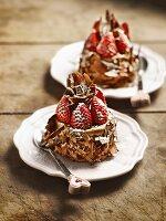 Cherry truffle cakes with strawberries
