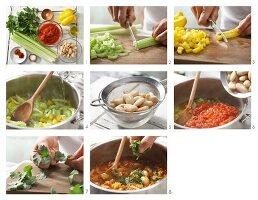 Bohnen-Paprika-Chili mit frischem Koriander zubereiten