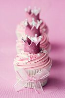 Cupcakes decorated with sugar crowns