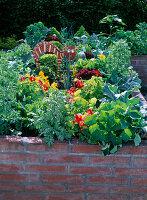 Hochbeet mit Gemüse und Blumen