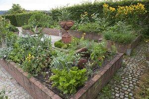 Hochbeete mit Gemüse und Blumen