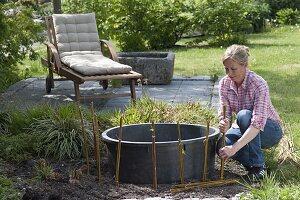 Mini-Teich mit bepflanzter Einfassung aus Weide 2/12