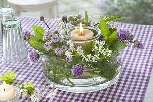 Windlicht mit Blüten von Waldmeister (Galium odoratum), Schnittlauch