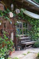 Holztür vom Gartenhaus mit Deko, Holunder