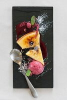 Creme Brulee Slice with raspberry ice cream