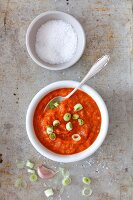 Ajvar with spring onions and salt