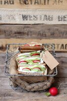 Healthy sandwiches in a wire basket