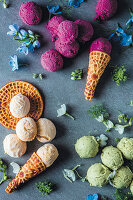 Banana and mango ice cream, blackberry ice cream with beetroot and mint and avocado ice cream