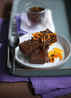 Chocolate fondant with orange and pepper syrup