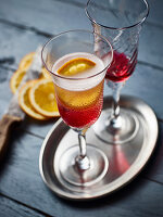 Champagne cocktails with Campari