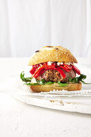 Spicy lamb burger with fire-roasted pepper