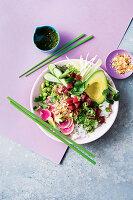 Tuna, green papaya and avocado bowl