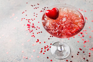 Fresh red margarita cocktail with hearts