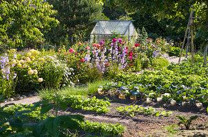 Gemüsegarten mit Blumenbeet und Gewächshaus