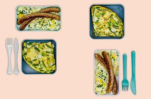 Gemüseomelette mit Feta und Bratwurst mit Eiersalat (Meal Prep)