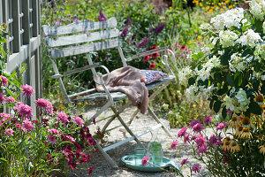Bank auf Kiesterrasse am Gartenhaus, Sonnenhut 'Butterfly Kisses' und Conetto 'Banana', Strauchhortensie