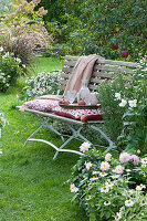 Sitzplatz auf Bank am Beet mit Aster, Herbstanemone, Dahlien und Zinnien