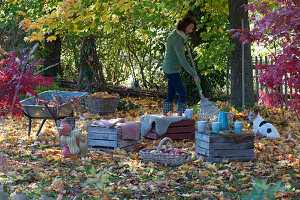 Umgedrehte Weinkisten als Sitzgruppe unterm Ahornbaum, Frau beim Laubrechen, Hund Zula