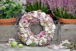 Herbstkranz aus Hortensienblüten, Fetthenne und Schneebeeren