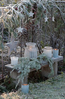 Weihnachtliche Dekoration am Gartenzaun mit Kiefer, Hagebutten und Holzsternen, Bank mit bereiften Windlichtern und Tannenzweig