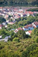 Weinwanderung, Blick auf Apach, Frankreich (Dreiländereck)