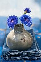 Kornblumen in kugeliger Vase