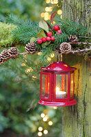 Rote Laterne an Tannengrün, Lärchenzweig und Scheinbeere