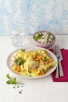 Maultaschen in Currysauce
