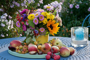 Bunte Tischdekoration mit Sträußen aus Chrysanthemen, Sommerastern, Sonnenblume, Hortensie, Fetthenne und Zierapfel, Äpfel und Zieräpfel auf Tablett