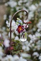 Ministrauß mit Blüten von Primel, Traubenhyazinthen und Blutpflaume