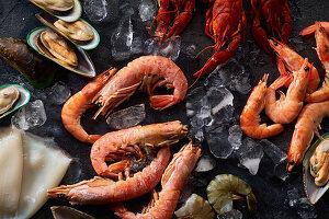 Seafood-Stillleben: Flusskrebse, Shrimps, Grünlippmuscheln und Tintenfisch