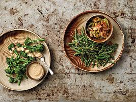 Bohnen, Brokkoli und Lauch auf japanische Art