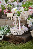 Körbchen mit Apfelblüten und weißen Vergissmeinnicht