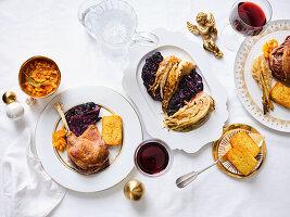 Gänseconfit mit Kartoffelterrine und gebackenem Kohl (Weihnachten)