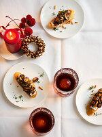 Crostini mit Champignons und Ziegenfrischkäse (Weihnachten)